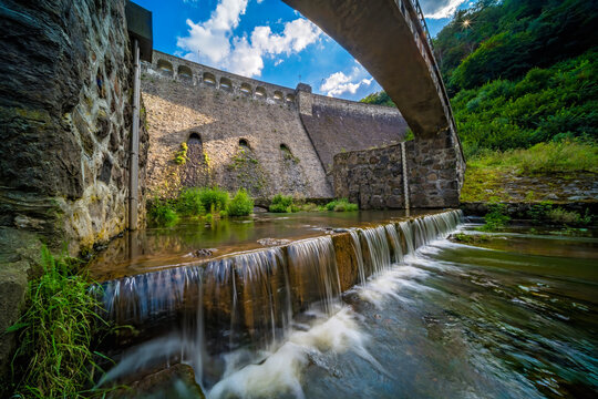 Beautiful view of the old water dam in Zagorze Slaskie, Poland