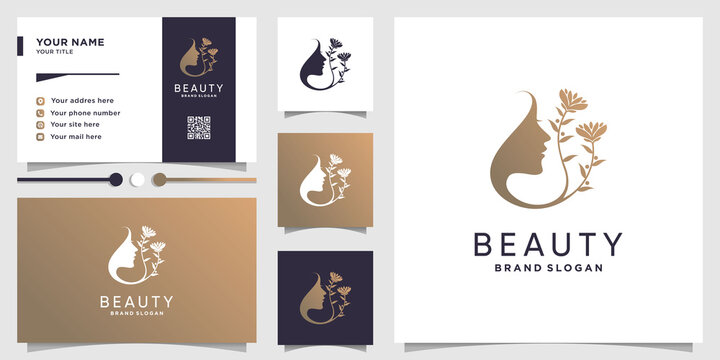 Beauty woman logo with flower concept and business card design Premium Vector