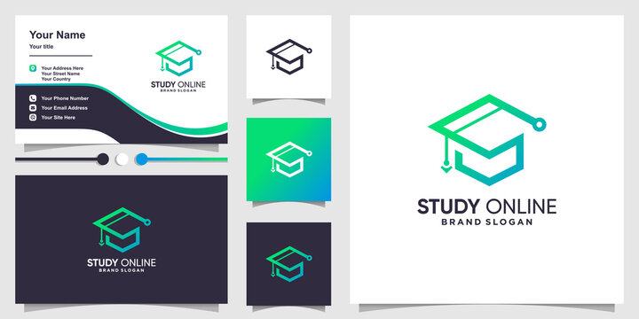 Study online logo with creative modern concept and business card design Premium Vector