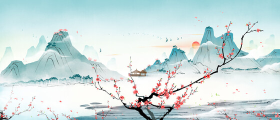 There are peach blossom trees in the mountains and forests in spring and summer. Oriental traditional ink landscape painting