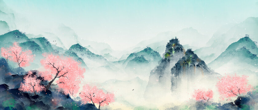 Mountain forest with peach blossoms in spring and summer. Oriental ink landscape painting.