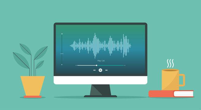 Podcast concept. Broadcasting online live streaming on computer or on radio station, vector flat design illustration