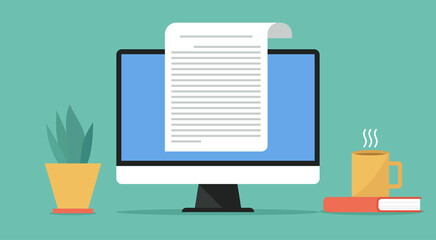online electronic document concept, paper sheet or journal on computer, vector flat design illustration