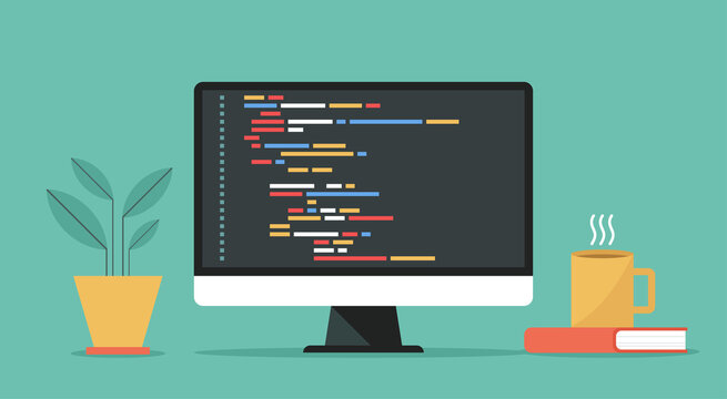 coding and programming software on window computer screen concept, vector flat design illustration