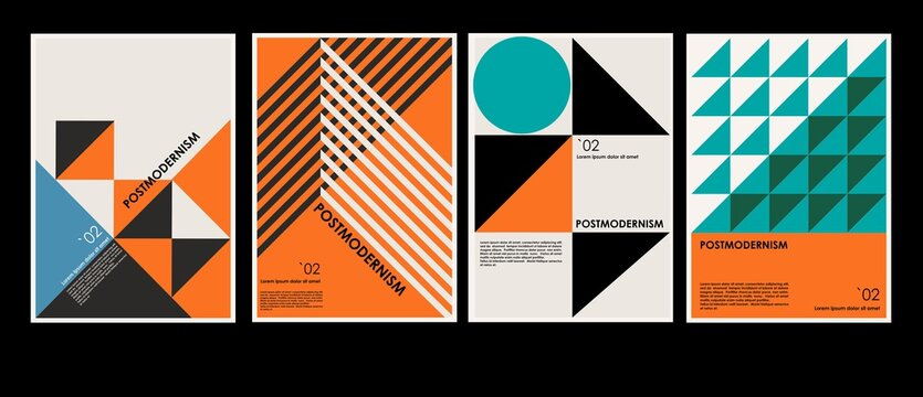 Artworks, posters inspired postmodern of vector abstract dynamic symbols with bold geometric shapes, useful for web background, poster art design, magazine front page, hi-tech print, cover artwork.