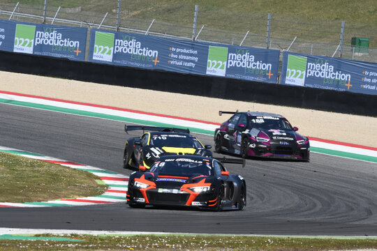 Scarperia, 25 March 2021: Audi R8 LMS GT3 of Rutronik Racing by TECE Team driven by Doppelmayr-Kaffer-Erhart-Herberger in action during 12h Hankook Race at Mugello Circuit in Italy.