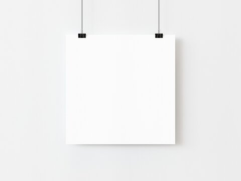 One blank square poster template hanging on thread with paper clips on white background. 3D illustration