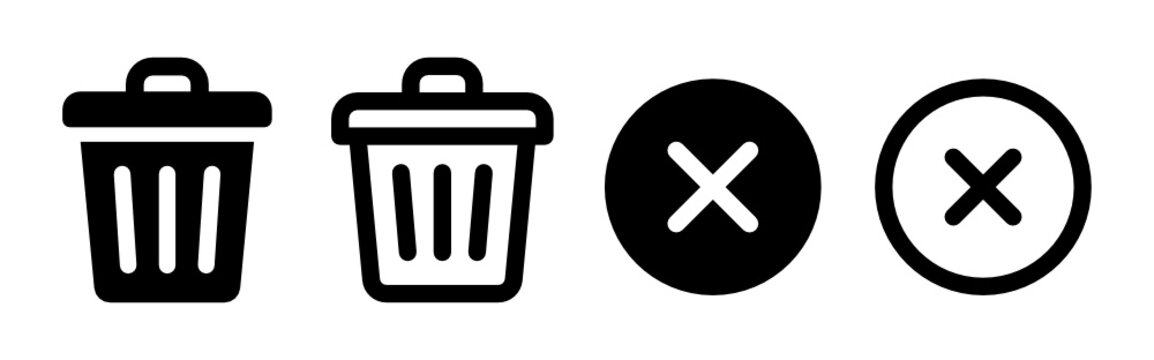 Trash can, bin, delete icon vector illustration.