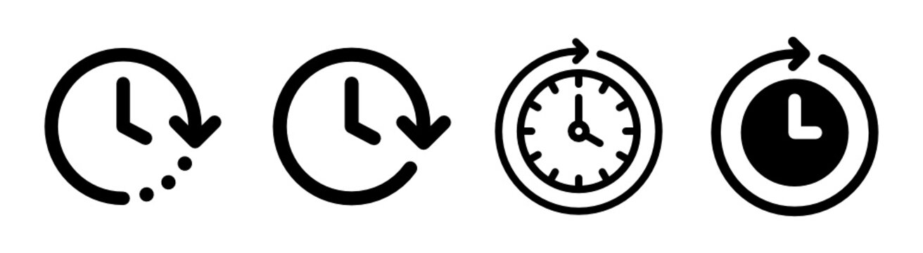 Future next events vector icon isolated on white background. Clock go forward in time.