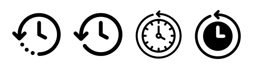 Obraz History past events vector icon isolate on white background. Clock go back in time. - fototapety do salonu