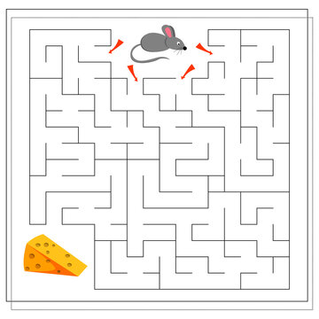 A maze game for kids. guide the mouse through the maze to the cheese. Vector isolated on a white background.