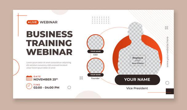 Business training webinar banner template