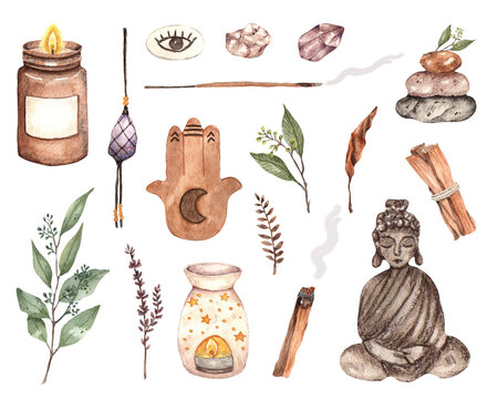 watercolor meditation elements yoga relax peaceful Buddha palo santo gems candle incense sticks stay home