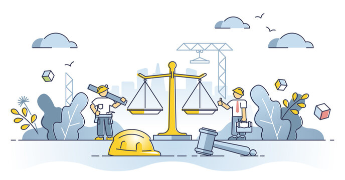 Labor law as worker legal regulation to protect job rights outline concept