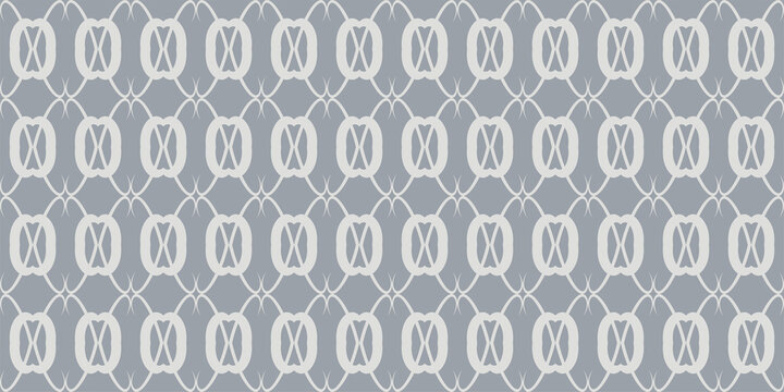 Background pattern with seamless ornament on silver background. Vector illustration
