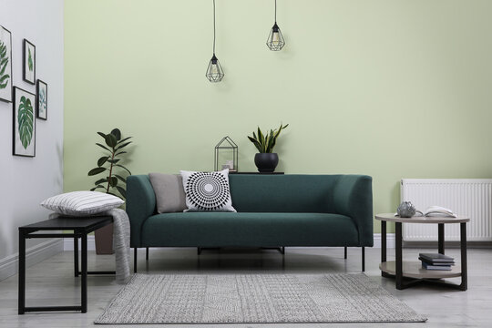 Stylish living room interior with comfortable green sofa and floral pictures