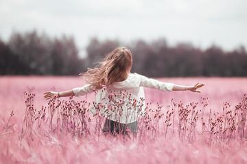 Canvas Prints Light pink pink field girl freedom, nature springtime summer nature portrait