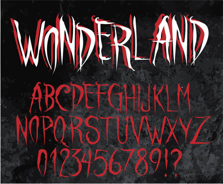 Wonderland - Horror vector font, gothic alphabet