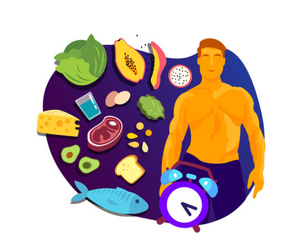 Intermittent Fasting and Sport concept. Young Athletic Muscular Healthy man in harmony with meal and food eating Lose weight, lifestyle, fitness discipline. Program Biohacking Flat vector illustration