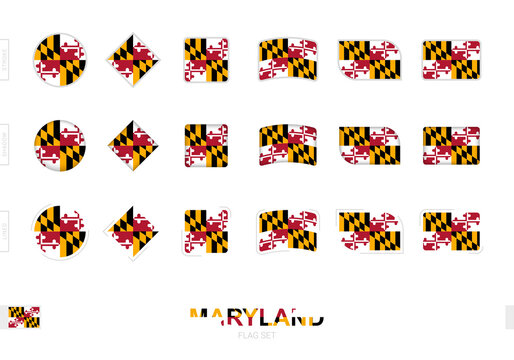 Maryland flag set, simple flags of Maryland with three different effects.