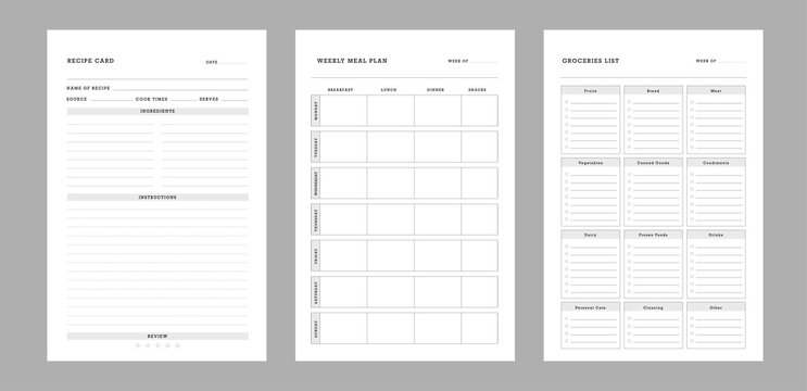 3 set of Recipe card, Weekly Meal Planner and Groceries list printable template Vector. Easily plan out of your weekly meals for breakfast, lunch, dinner and snacks.