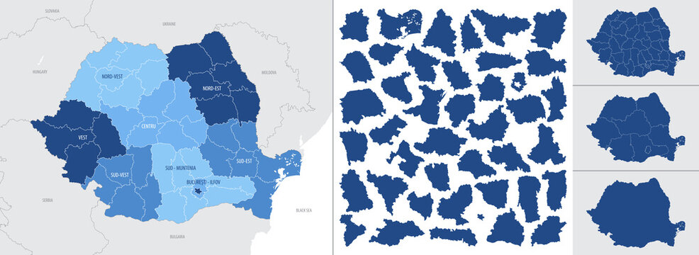 Detailed, vector, blue map of Romania with administrative divisions country