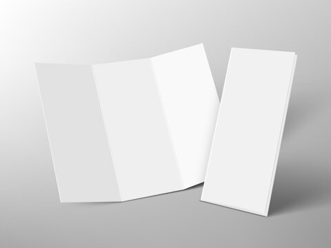 Open And Closed Trifold Paper Booklet With Shadow