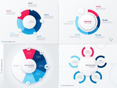 Vector infographic round chart templates. Five options, steps, parts