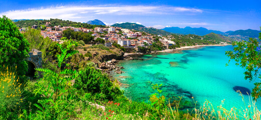 Italian summmer holidays. beautiful seaside hiltown Palinuro with amazing beaches in Campania region. Best sea resorts of Italy
