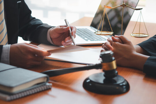 lawyer consulting concept, Businessman and Male lawyer or judge consult having team meeting with client, Law and Legal services concept.