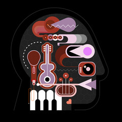 Musical Head vector artwork. Human head shape design consisting with a different musical instruments vector illustration.