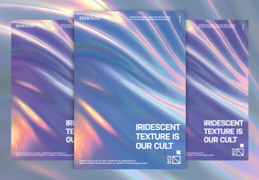 Modern Abstract Poster Layout with Holographic Wave Texture