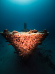 "Ship wreck ""Superior Producer"" in turquoise water of coral reef in Caribbean Sea, Curacao"