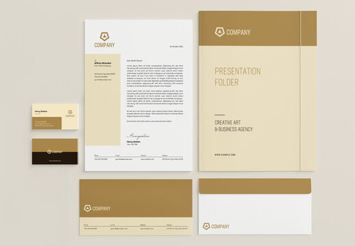 Stationery Set Layout with Golden Accents
