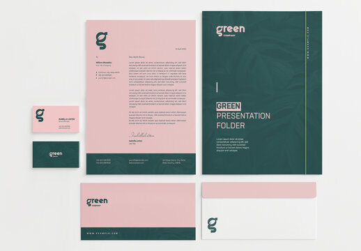 Stationery Set Layout with Pink and Green Accents