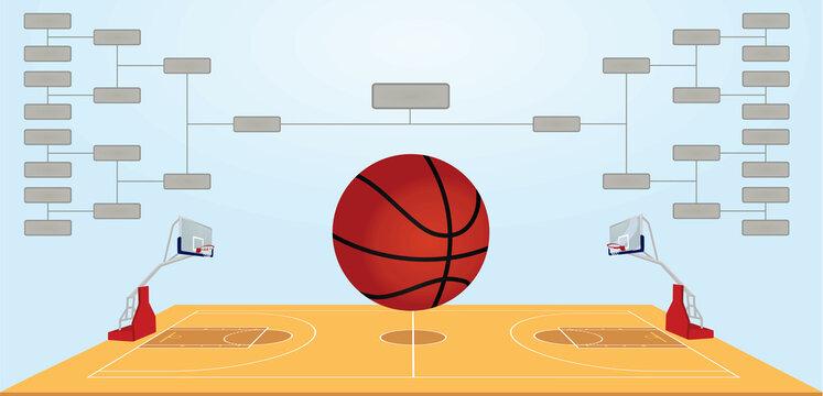 Basketball bracket scheme. vector illustration