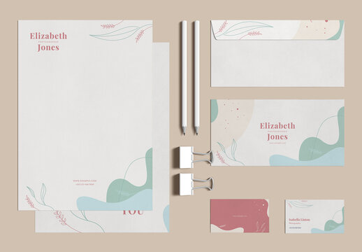 Stationery Set Layout with Natural Design Elements