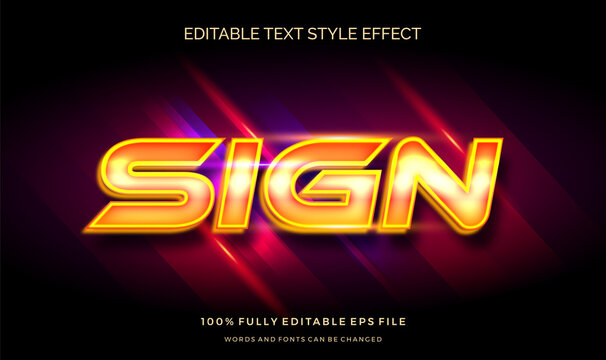 Editable text style effect  with shiny glowing yellow  vector design template.