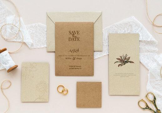 Flatlay of Wedding Cards Mockup Design