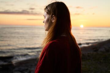 woman tourist landscape ocean sunset fresh air travel Wall mural