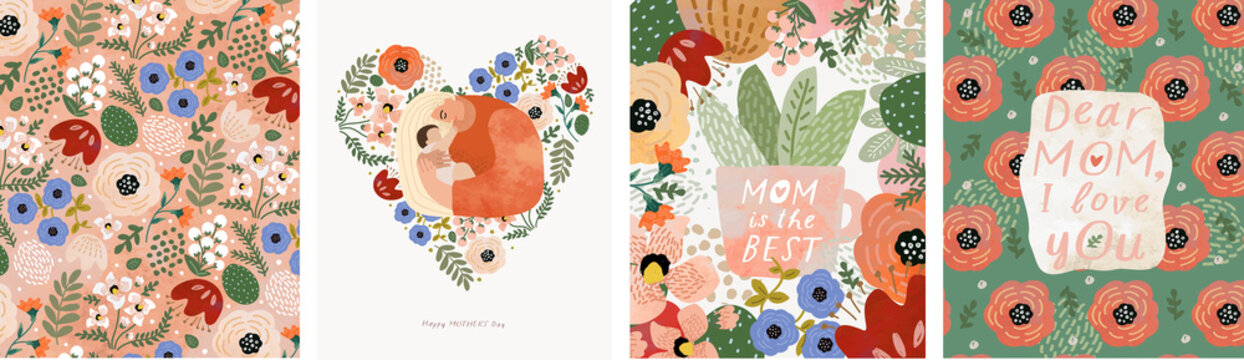 Mothers Day. Vector watercolor illustrations of mom, baby, flowers, hearts, pattern and text. Drawings for postcard, poster or background