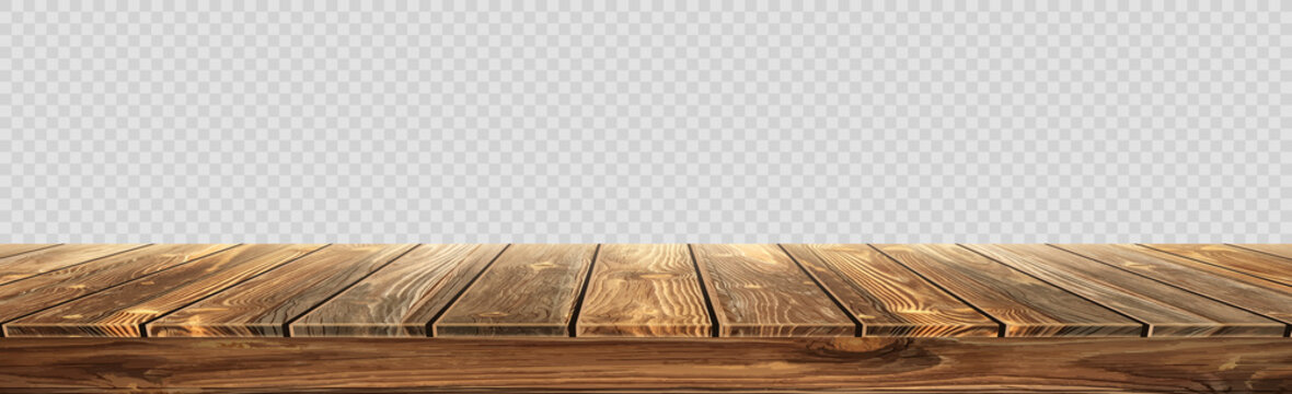 Large table top, wooden texture from boards, transparent background - Vector