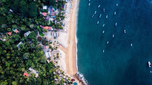 Drone view of beautiful Yelapa beach nearby Puerto Vallarta in Jalisco Mexico.