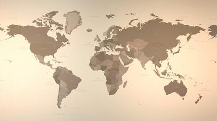 World map. High resolution, detailed vintage world map 3d illustration.