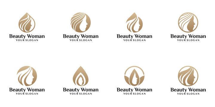set of beauty woman logos