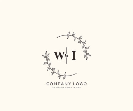 initial WI letters Beautiful floral feminine editable premade monoline logo suitable for spa salon skin hair beauty boutique and cosmetic company.