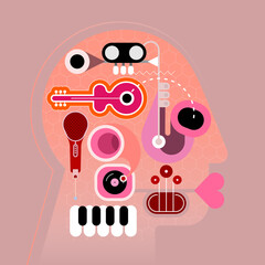 Music Head vector illustration. Human head shape design consisting with a different musical instruments vector illustration.