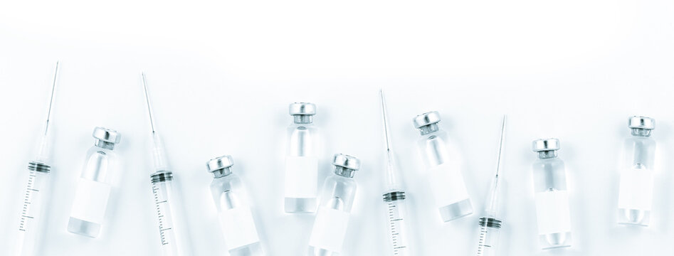 Close-up of shingle vaccine vials and syringes