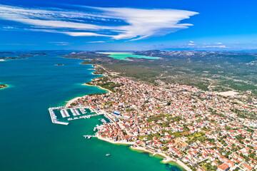 Fototapeta Adriatic town of Pirovac panoramic aerial view