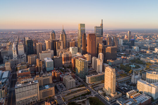 Beautiful Sunset Skyline of Philadelphia, Pennsylvania, USA. Business Financial District and Skyscrapers in Background.